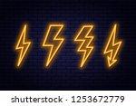 set of neon lightning bolt... | Shutterstock .eps vector #1253672779