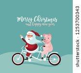 cartoon santa claus riding his... | Shutterstock .eps vector #1253700343