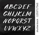 hand drawn font made by ink... | Shutterstock .eps vector #1253717563