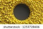 3d render  yellow balls ... | Shutterstock . vector #1253728606