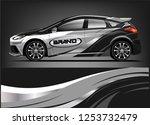 car decal sticker wrap design... | Shutterstock .eps vector #1253732479