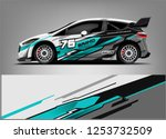 car decal sticker wrap design... | Shutterstock .eps vector #1253732509