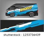company car wrap. wrap design... | Shutterstock .eps vector #1253736439