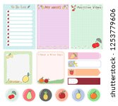 set of cute notes  to do list...   Shutterstock .eps vector #1253779606