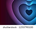 neon glowing laser heart shape... | Shutterstock .eps vector #1253790100