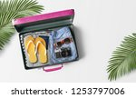travel bag background concept.... | Shutterstock . vector #1253797006