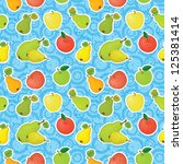 seamless pattern  apples and... | Shutterstock .eps vector #125381414