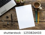 blank paper and pencils on old... | Shutterstock . vector #1253826433