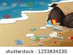 a pollution beach background... | Shutterstock .eps vector #1253834230