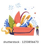 picnic basket with food and...   Shutterstock .eps vector #1253856673