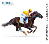 jockey on racing horse.... | Shutterstock .eps vector #1253858716