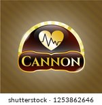 shiny emblem with heart with... | Shutterstock .eps vector #1253862646