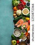 set healthy food  cereals ... | Shutterstock . vector #1253872366