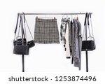 female stripy skirt  clothes...   Shutterstock . vector #1253874496