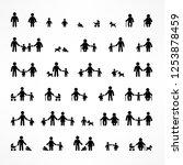 set of family stick figures on... | Shutterstock .eps vector #1253878459