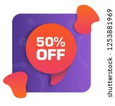 50  off discount tag. vector...   Shutterstock .eps vector #1253881969