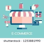e commerce icon. flat design....   Shutterstock .eps vector #1253881990