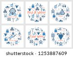 six blue square banners in...   Shutterstock . vector #1253887609
