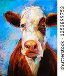 original pastel painting. cow... | Shutterstock . vector #1253899753