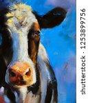 original pastel painting. cow... | Shutterstock . vector #1253899756
