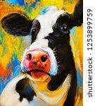 original pastel painting. cow... | Shutterstock . vector #1253899759