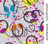 abstract cool patten with hand... | Shutterstock .eps vector #1253913163