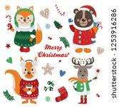 christmas set with isolated...   Shutterstock .eps vector #1253916286