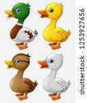 set of cute duck cartoon | Shutterstock .eps vector #1253927656