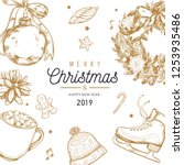 christmas and new year vector ... | Shutterstock .eps vector #1253935486