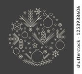minimalistic linear new year... | Shutterstock .eps vector #1253938606