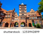 burgtor or burg tor gate is a...   Shutterstock . vector #1253942899