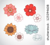 a set of four beautiful flowers ... | Shutterstock .eps vector #125394608