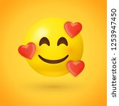 emoji with hearts   in love... | Shutterstock .eps vector #1253947450