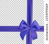 realistic blue bow and ribbon... | Shutterstock .eps vector #1253959069