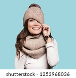 beautiful woman winter portrait....   Shutterstock . vector #1253968036