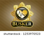 shiny badge with heart with... | Shutterstock .eps vector #1253970523