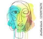 portrait a woman with earring... | Shutterstock . vector #1253973670