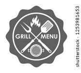 stamp grill menu sign. crossed...   Shutterstock .eps vector #1253981653