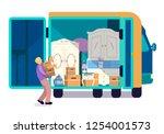 man packing moving truck full... | Shutterstock .eps vector #1254001573
