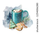 watercolor cozy card with cacao ... | Shutterstock . vector #1254006280