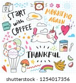 set of cute doodles background | Shutterstock . vector #1254017356