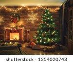 3d rendering christmas interior ... | Shutterstock . vector #1254020743