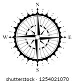 compass rose for marine or... | Shutterstock .eps vector #1254021070