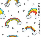 set of cute rainbow doodles... | Shutterstock . vector #1254022459