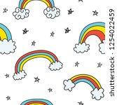 set of cute rainbow doodles... | Shutterstock . vector #1254022459