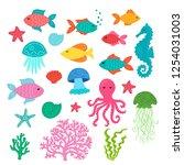 set of hand drawn cute sea... | Shutterstock .eps vector #1254031003