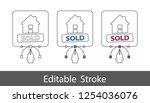 house sold symbol   outline... | Shutterstock .eps vector #1254036076