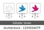 dove symbol   outline styled... | Shutterstock .eps vector #1254036079
