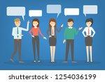people talk using speech bubble....   Shutterstock .eps vector #1254036199