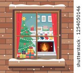 christmas window with cozy room ...   Shutterstock .eps vector #1254050146